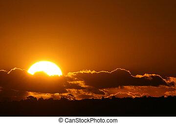 perfekt, solnedgang