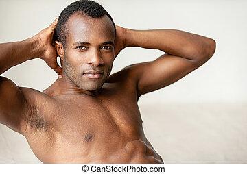 perfetto, addestramento, suo, abs, body., giovane, muscolare...