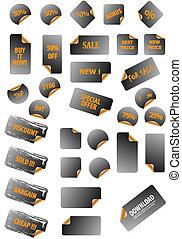 perfetto, aggiungere, differente, gallery., forme, redigere, labels., qualsiasi, vettore, testo, icons., facile, collezione, size., mio, promozione, più