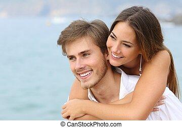 perfetto, amore, coppia, sorriso, spiaggia, felice