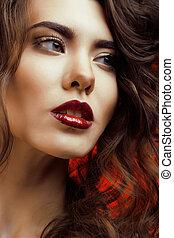 perfetto, bella donna, bellezza, unghia, trucco, ragazze, isolato, faccia, labbra, sfondo nero, professionale, vacanza, rosso