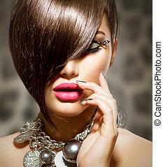 perfetto, bellezza, trucco, fringe., manicure, sexy, modello...