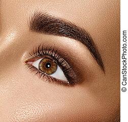 perfetto, brunetta, occhio, bellezza, trucco, donna