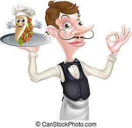 perfetto, cameriere, cartone animato, kebab, maggiordomo