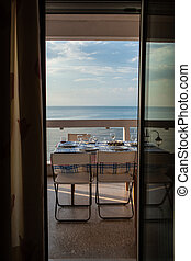perfetto, cena, terrazzo, mare