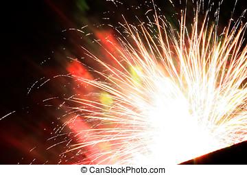 perfetto, copyspace, colorito, fireworks, giorno, anno, altro, nero, antastic, celebrazioni, nuovo, o, indipendenza