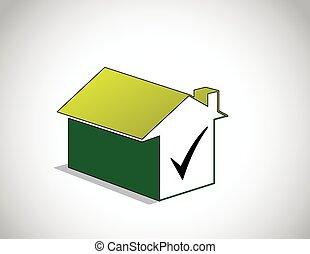 perfetto, destra, colorito, &, scelto, casa, verde, casa, zecca, icona
