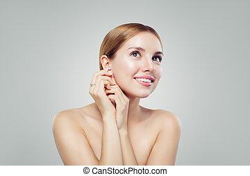 perfetto, donna, gioielleria, anello, giovane, diamante, lusso, orecchini, modello