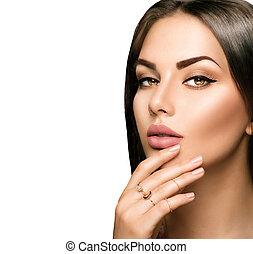 perfetto, donna, rossetto, trucco, labbra, metallina, beige