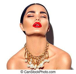 perfetto, dorato, donna, bellezza, trucco, giovane, accessori, moda, brunetta, sexy, trendy, portrait., modello, ragazza