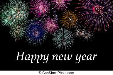 perfetto, fantastico, fireworks, colorito, copyspace, giorno, anno, altro, nero, celebrazioni, nuovo, o, indipendenza