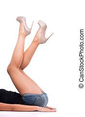 perfetto, femmina, gambe