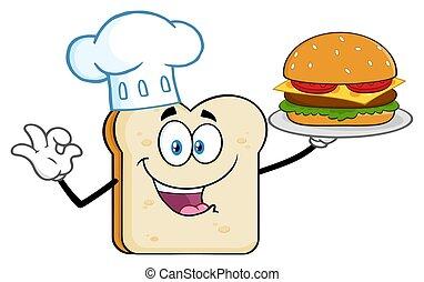 perfetto, fetta, carattere, chef, hamburger, presentare, mascotte, cartone animato, bread