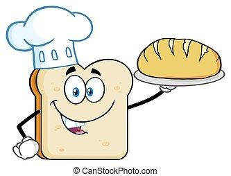 perfetto, fetta, carattere, chef, presentare, mascotte, cartone animato, bread