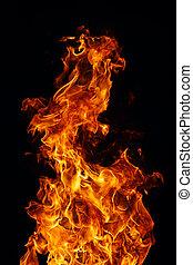 perfetto, fuoco, sfondo nero