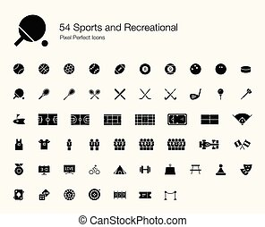 perfetto, icone, 54, ricreativo, pixel, sport, (filled, style).