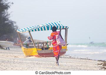 perfetto, immagine, vendita, traditonaly, gioielleria, spiaggia, vestito, paje, zanzibar, mano, tropicale, maasai, fatto, vista, africa., tanzania, est, retro, uomo