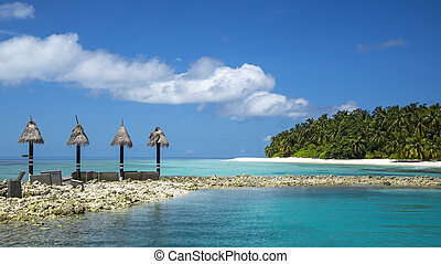 perfetto, isola tropicale, spiaggia, paradiso
