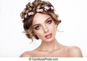 perfetto, moda, hairstyle., bellezza, truccare, creativo, capelli, ragazza, bride., hair., modello, fiori, style.