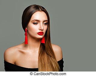 perfetto, moda, signora, trucco, giovane, eyeliner, fondo., labbra, donna, nero, trendy, orecchini, modello, bandiera, rosso