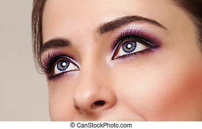 perfetto, occhi, bellezza, trucco, luminoso, ragazza
