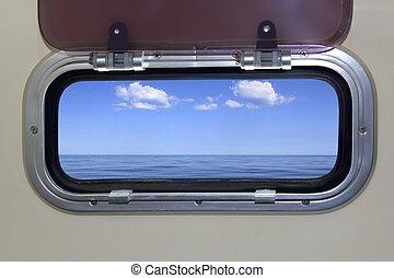 perfetto, oceano blu, mare, oblò, barca, vista