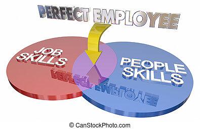 perfetto, persone, abilità, lavoratore, illustrazione, diagramma, lavoro, più, impiegato, venn, 3d