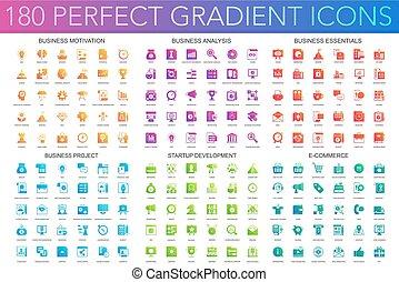 perfetto, progetto, set, affari, icone, pendenza, essentials, avvio, 180, vettore, sviluppo, analisi, trendy, commerce., motivazione