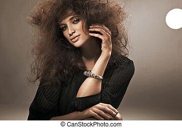 perfetto, ritratto, brunetta, bellezza