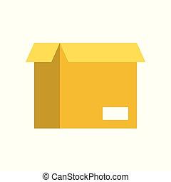 perfetto, scatola, appartamento, disegno, aperto, pixel, icona