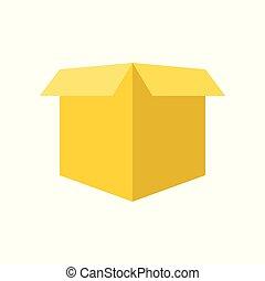 perfetto, scatola, appartamento, disegno, aperto, pixel, vuoto, icona