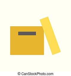 perfetto, scatola, appartamento, disegno, pixel, vuoto, icona
