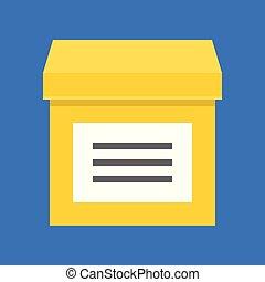 perfetto, scatola, appartamento, vettore, disegno, pixel, icona