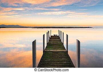 perfetto, serenità, -, legname, molo, e, riflessioni
