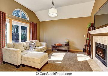 perfetto, soggiorno, famiglia, fixture., luce, moquette, appendere