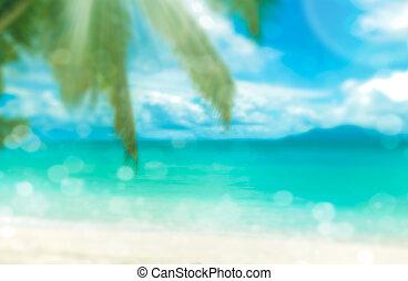 perfetto, spiaggia., vacanza, tropicale, fondo., defocused