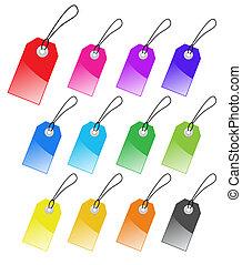 perfetto, uso, set, etichette, marketing, text., variopinto, vettore, design.