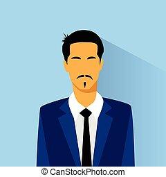 perfil, ásia, hispânico, raça, retrato, homem negócios, ...