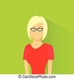 perfil, ícone, femininas, avatar, mulher, desgaste, óculos...