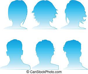 perfil, ícones, pessoas, 6