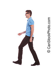 perfil, andar, casual, homem