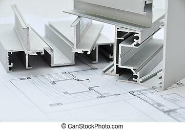 perfil, architectura, alumínio