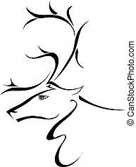 perfil, backgroun, cabeça, silueta, veado, isolado, branca
