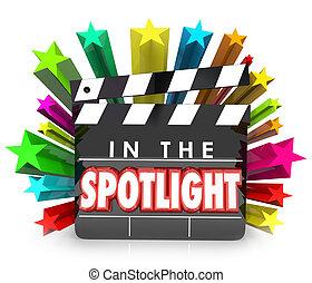 perfil, badajo, película, aprecio, estrellas, proyector, ...