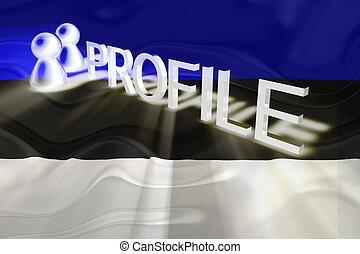 perfil, bandera, ondulado, estonia