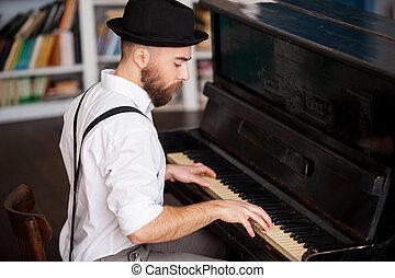 perfil, barbudo, hombres, joven, elaboración, piano, music., juego, guapo
