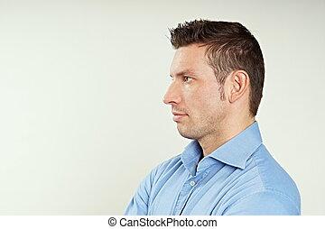 perfil, bonito, homem
