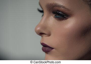 perfil, bonito, maquilagem, rosto, fundo, retrato, profissional, menina, branca
