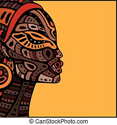 perfil, bonito, woman., africano