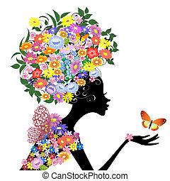 perfil, borboleta, menina, flor